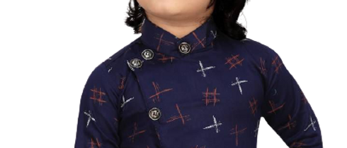 Stylish Cotton Blend Navy Blue Printed Collar Full Sleeves Shirt For Boys