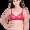 Thumbnail: Women's Bra & Panty Set Embroidered Maroon Lingerie Set