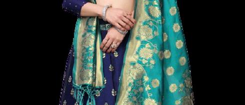 Woman Blue & Green Lehenga