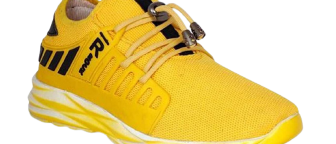 Men's Stylish and Trendy Yellow Printed Mesh Casual Gym & Sports Shoes