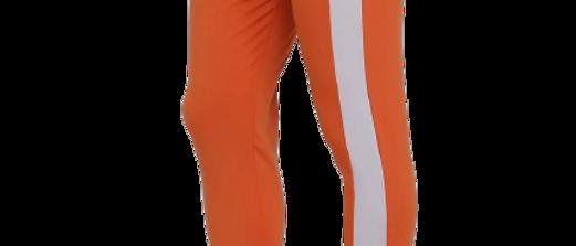 Men's Orange Cotton Spandex Self Pattern Regular Fit Track Pant