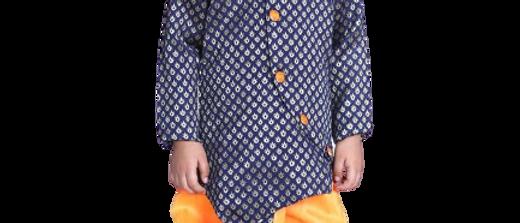 Stylish Silk Blend Navy Blue Full Sleeve Dhoti With Kurta For Boys kid