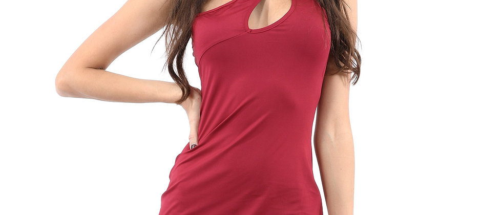 Eden Asymmetric Neckline Mini Dress - Red