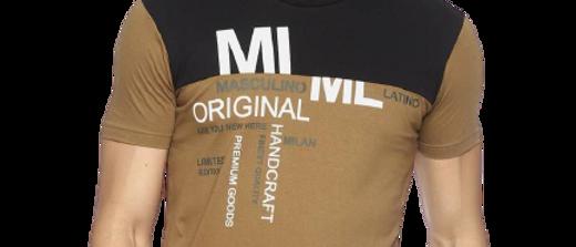 Men's Khaki Printed Cotton Round Neck T-shirt