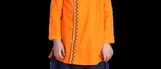 Stylish Cotton Orange Dhoti With Kurta For Boy Kid