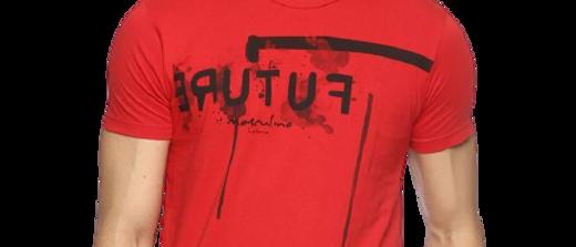 Men's Red Printed Cotton Round Neck Tshirt
