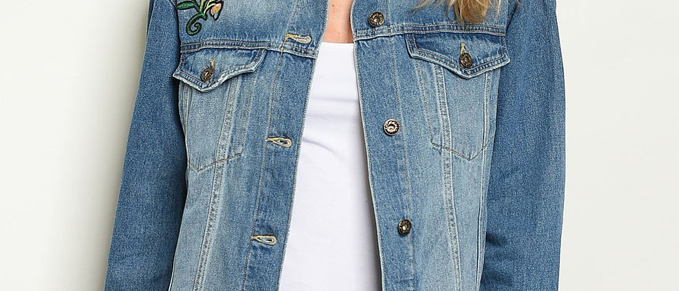 Womens Blue Denim With Patch Jacket