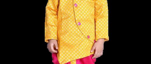 Stylish Silk Blend Yellow Dhoti With Kurta For Boys Kids