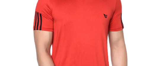 Red  Polyester Tshirt For Men's