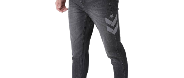 Men's Stylish Grey Cotton Printed Regular Fit Mid-Rise Jeans