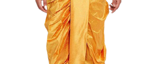 Men's Cotton Yellow and Red Dhoti