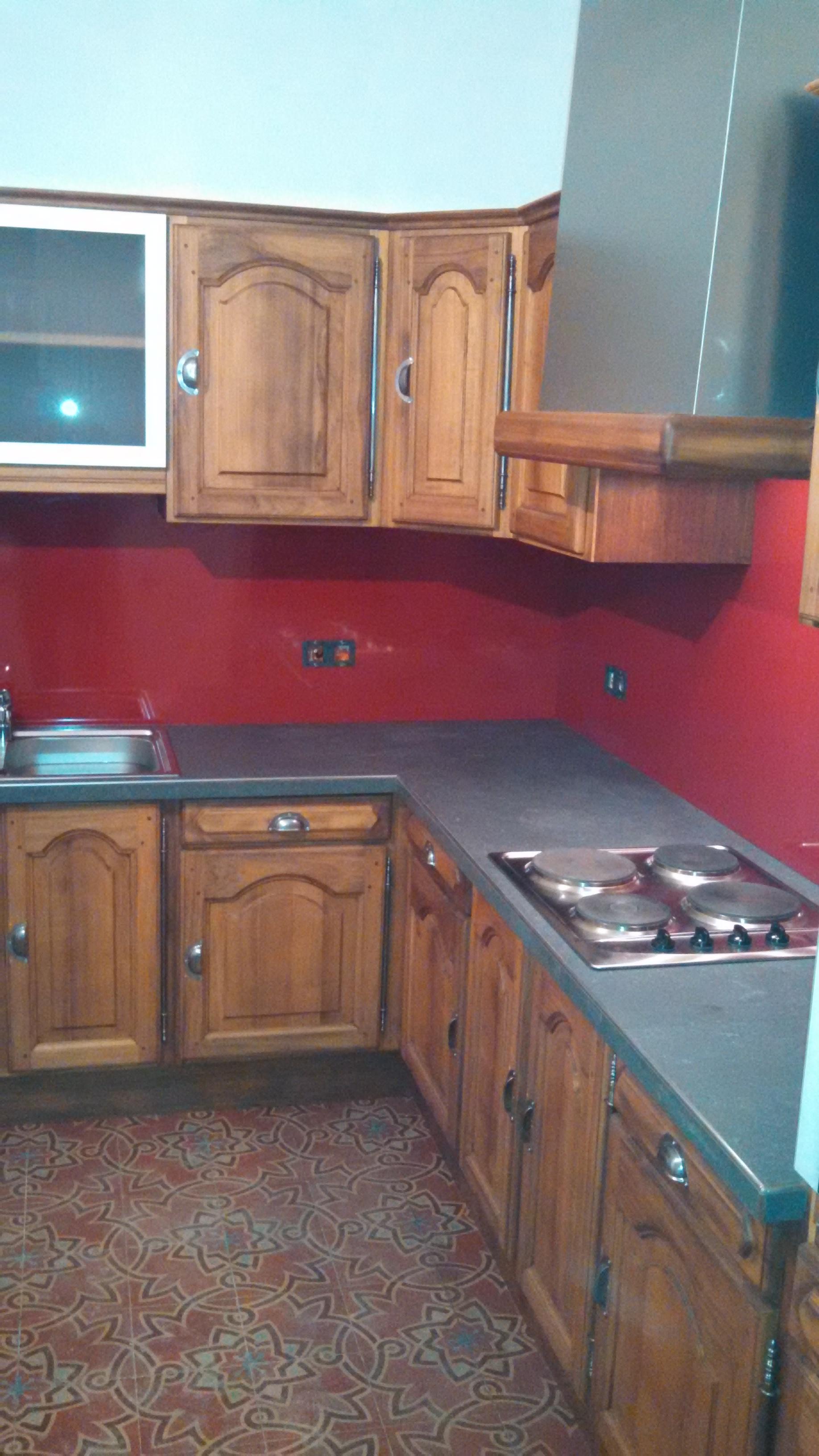 cuisine rouge et grise