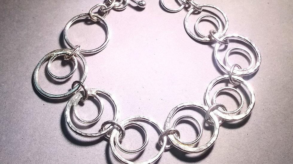 Hammered Sterling Hoop Bracelet