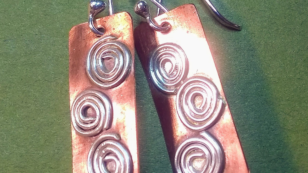 Copper with Sterling Silver Spirals