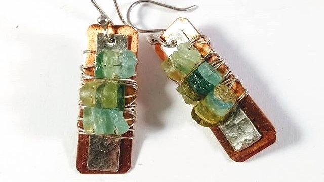 Roman Glass, Copper & Sterling Silver