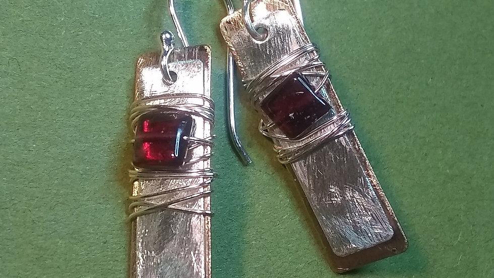 Garnet, Fine Silver & Bronze Wraps
