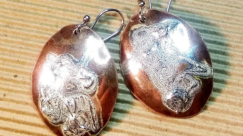 Penny Earrings with Fused Sterling Silver