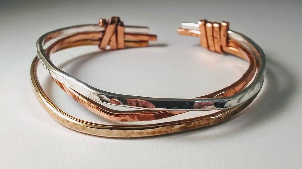 Bangle in Sterling Silver, Copper & Bronze