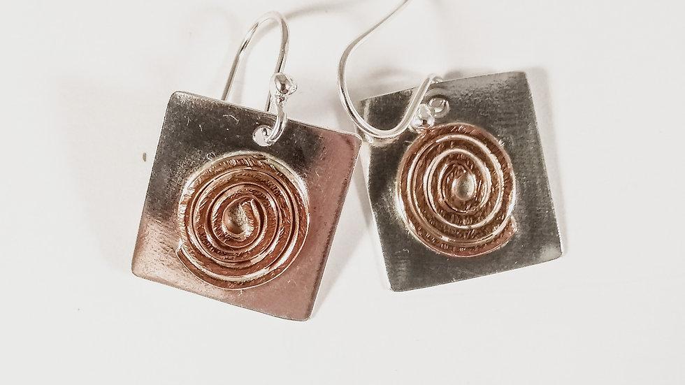 Copper Spirals on Sterling