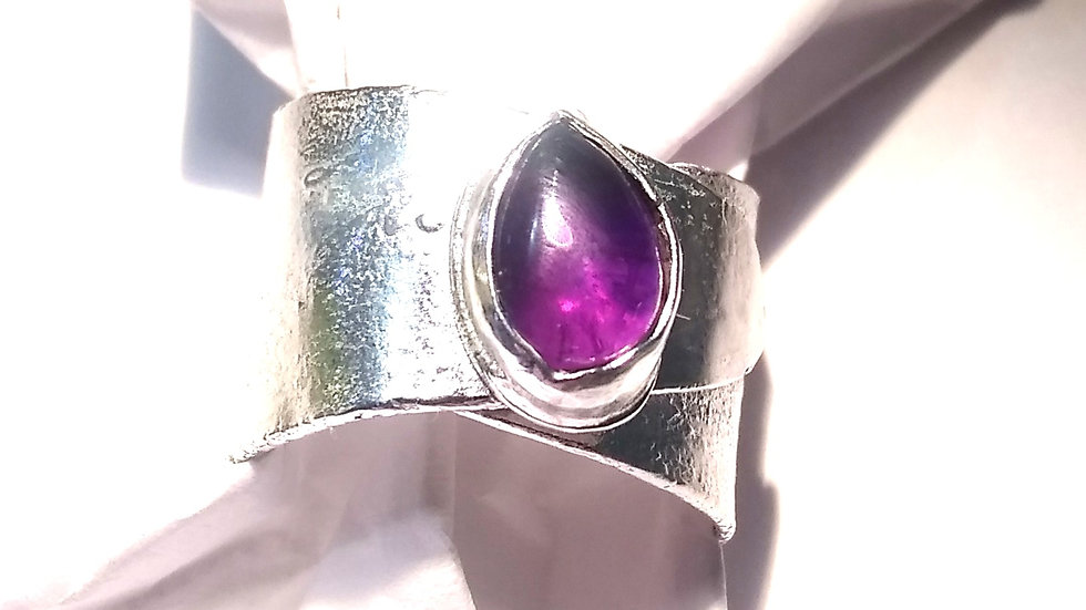 Amethyst & Reticulated Sterling Silver