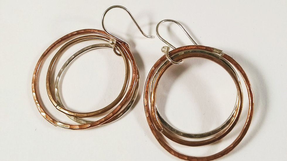 Copper, bronze & sterling hoops