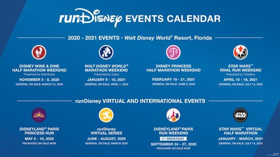runDisney Race Calendar for 2020-2021