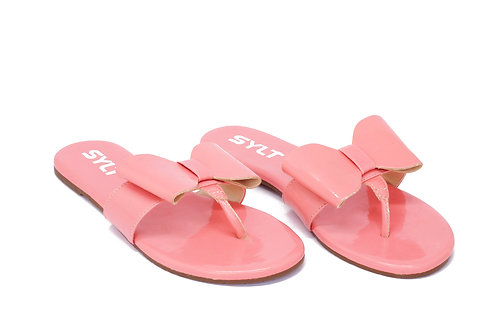 R. 55212 Rasteira Moda Praia Com Tope Couro Verniz Rosa Chiclete