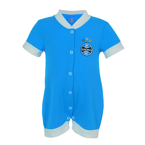 R.G6891B Macacão Grêmio Curto Para Bebê Azul Claro Com Branco Grêmio