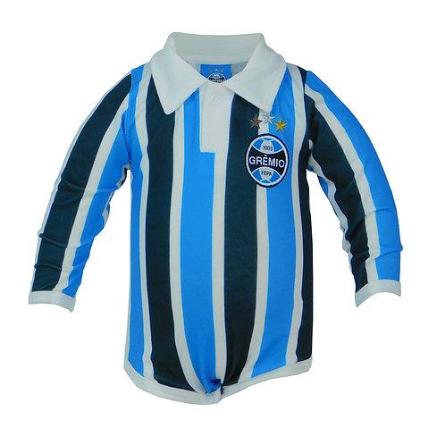 R.G680B Body Grêmio Gola Polo Tricolor Para Bebê Azul Preto e Branco