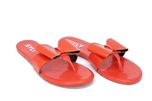 R. 55214 Rasteira Moda Praia Com Tope Couro Verniz Vermelha