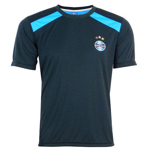 R.G696 Camiseta Grêmio Nova Preta Detalhe Azul Masculina Escudo No Peito