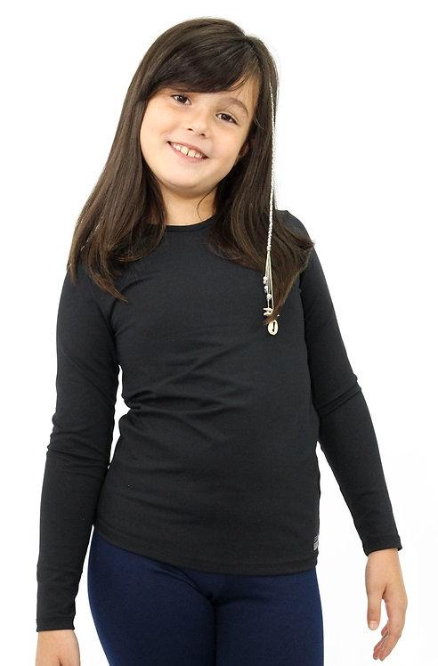 R.9106B CAMISETA TÉRMICA INFANTIL E JUVENIL PRETA COM PROTEÇÃO UV