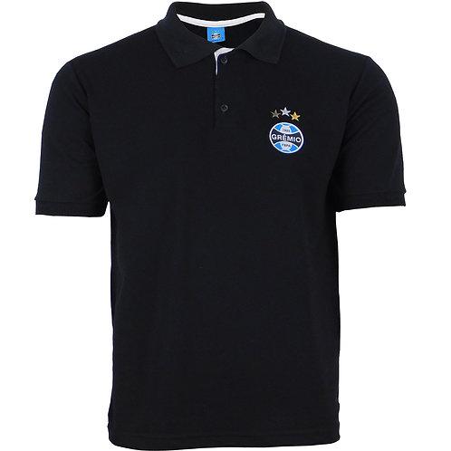 R.G587 Camisa Polo Grêmio Preta Com Escudo Bordado Tricolor Grêmio