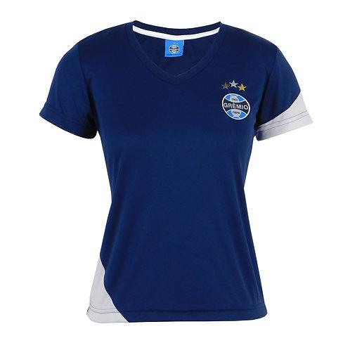 R.G698 Camisa Baby Look Grêmio Feminina Azul e Branco Nova