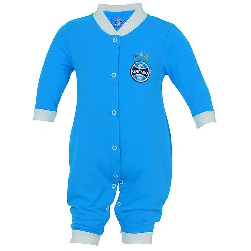 R.G6881B Macacão Grêmio Longo Azul Para Bebê Azul Com Branco Grêmio