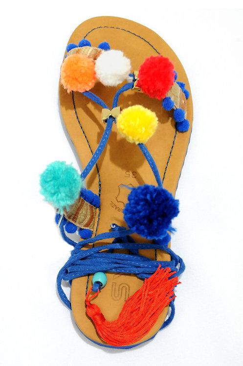 R.55860G Sandália Rasteira Gladiadora com Pom Pom Confortável Azul