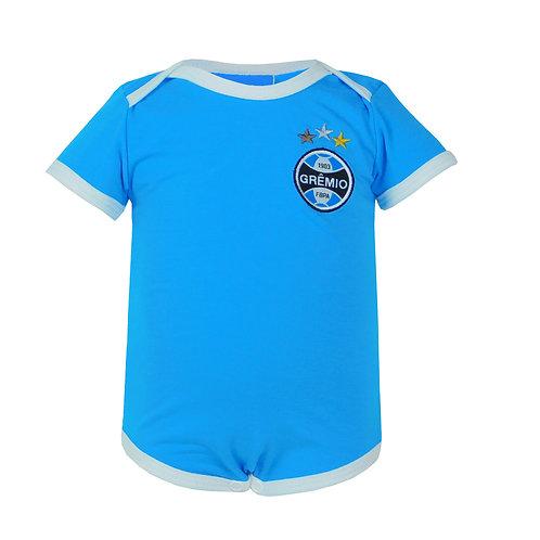 R.G685B Body Grêmio Curto Azul Celeste Manga Curta Para Bebê Grêmio