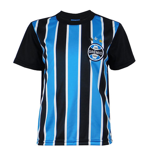 R.G607J Camisa do Grêmio Juvenil Azul Preto e Branco Tricolor Licenciada