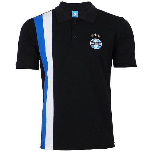 R.G586 Camisa Gola Polo Grêmio Preta Com Listras Tricolor Grêmio RS