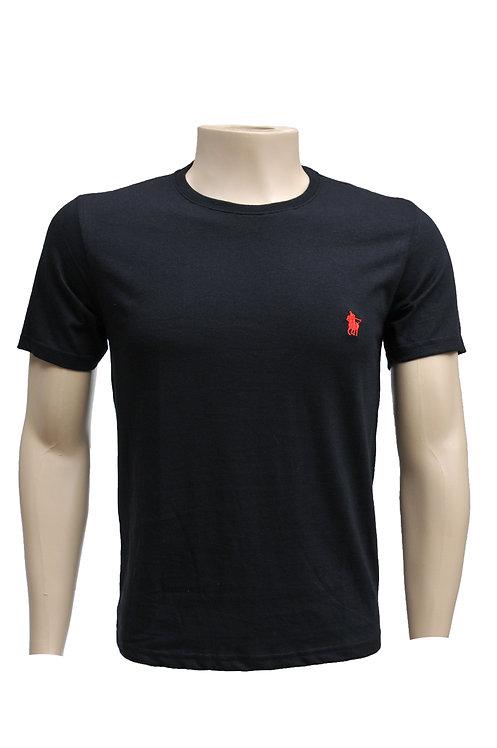 R. 210124 Camiseta Masculina Casual Básica Preta Polo Clássica