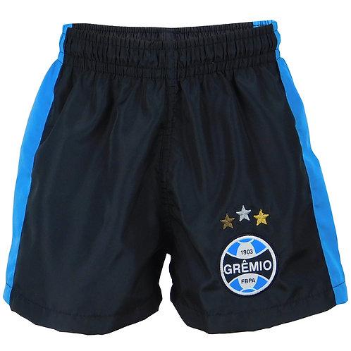 R.G636J Calção Grêmio Juvenil Microtel Preto Detalhe Azul Bermuda Preta