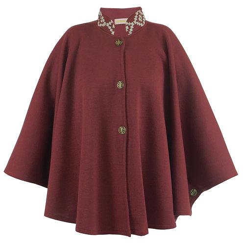 R.P0906 Capa Guria Blusa Poncho Kimono Feminino Casaco Bordô em Tricô