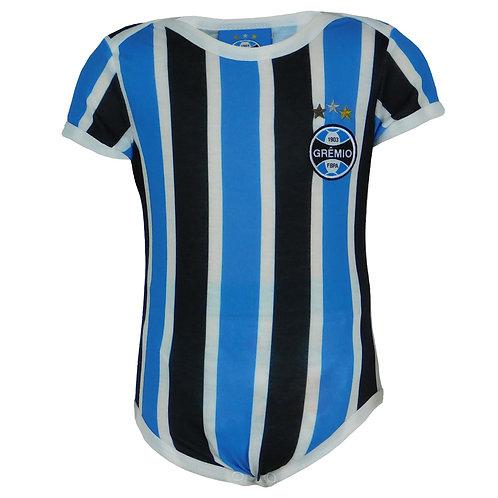 R.G676B Body Grêmio Bebê Tricolor Recém Nascido Pernas e Manga Curta