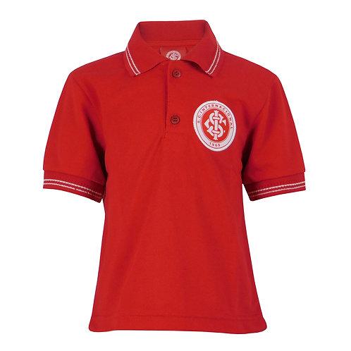 R.INT414i Camisa Polo Inter Infantil Vermelha Listra Branca Internacional
