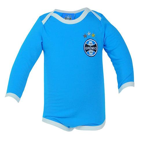 R.G684B Body Grêmio Curto Azul Celeste Manga Longa Para Bebê Grêmio