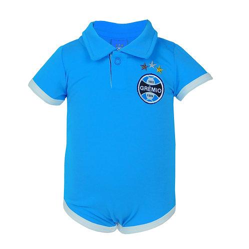 R.G683B Body Grêmio Azul Claro Celeste Gola Polo Bebê Manga Curta
