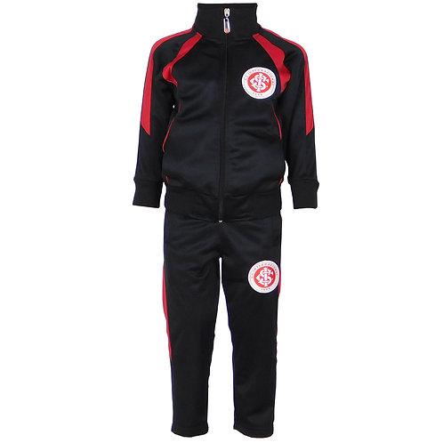 R. INT512i Abrigo Internacional Preto e Vermelho Infantil Jaqueta e Calça