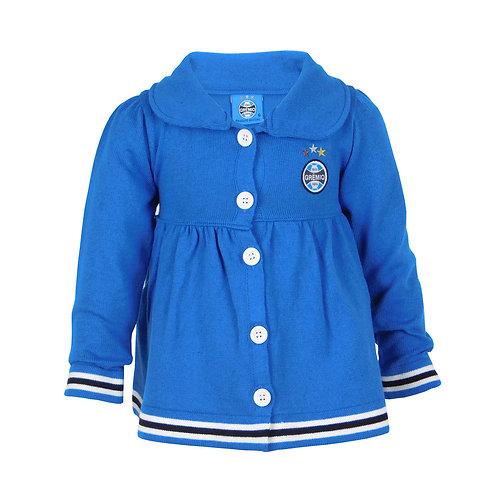 R.G560B Casaquinho De Bebê Do Grêmio Para Meninas Vestido Franzido Casaco Azul