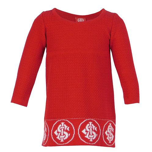 R.INT429B Vestido Bebê Inter Vermelho Vestido Criança Internacional