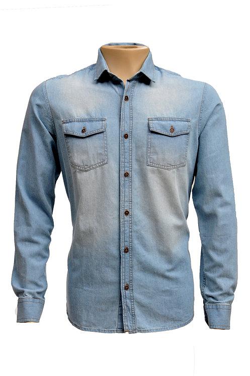 R. 220337 Camisa Social Masculina Manga Longa Jeans Claro Polo Clássica